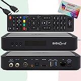 TiVuSat Tarjeta 4K UHD activada + DIGIQuest Q60 Combo 4K H.265 S2+T2 HEVC Set-Top Box, receptor TiVuSat certificado con tarjeta, reproductor multimedia, WebRadio, USB PVR, EasyMouse HDMI