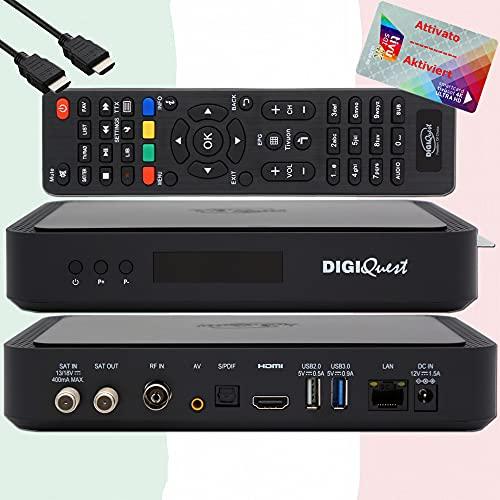 TiVuSat Carte 4K UHD activé + Récepteur Combo DIGIQuest Q60 4K H.265 S2 + T2 HEVC décodeur, certifié TiVuSat avec carte, lecteur multimédia, WebRadio, USB PVR, EasyMouse HDMI