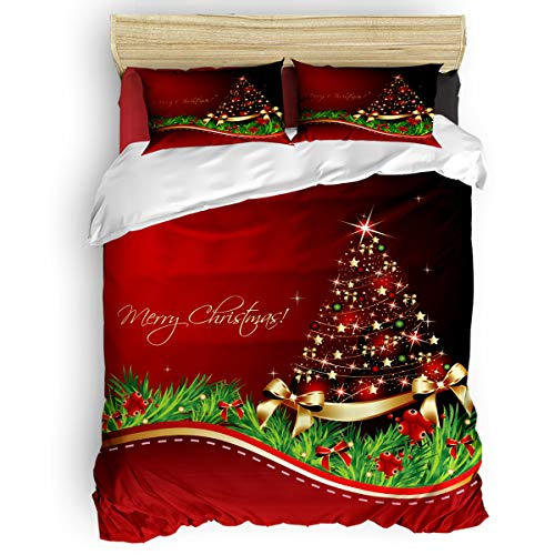 Luxury Ultra Soft All Season Premium 4 Piece Bedding Set Include 1 Comforter Cover 1 Bed Sheets 2 Pillowcases, Merry Christmas Xmas Tree and Green Grass on Red Stylish Soft Bedding Sets Queen Size