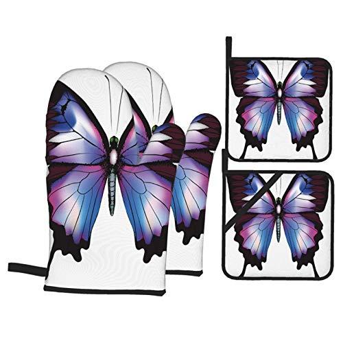 Ofenhandschuhe und Topflappen 4er-Sets,Schwalbenschwanz Schmetterling Lebendige Tierfigur Magische Natur Zerbrechliche Kreatur Violett Blau Kastanienbraun Pink,Polyester-Grillhandschuhe mit gesteppten