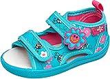 gibra® Freizeitschuhe Sandalen aus Textil mit Lederinnensohle für Babys, Kleinkinder, Kinder, Art. 3747, mit Klettverschluss, türkis, Gr. 25