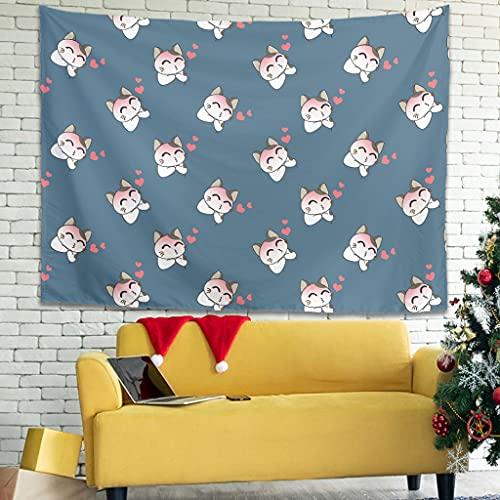 Ballbollbll Japón lindo gato de dibujos animados Tapiz con patrón de colgar en la pared en el hogar decorar fundas de sofá decoración de pared manta blanca 79 x 59 pulgadas