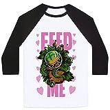 LookHUMAN Feed Me!- Audrey II White/Black Small Mens/Unisex Baseball Tee
