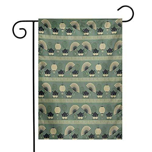 Garden Flag, Small Garden Outdoor Decorative Flags, Chinese Culture Inspired Tea Time Lantern Teapot and Fan Oriental, Reseda Green Black Cream, 12'x18'