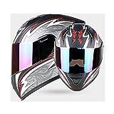 WWJIE (Nero Asiatico con Occhiali Colorati) Casco per Moto Integrale ECEFlip Up Casco per Moto, off-Road Racing, Motocross, per Honda/Yamaha/Suzuki/Kawasaki, Casco Bandit.-XXXL