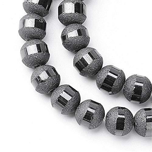 Glasperlen Galvanisierte 6mm Runde Matt perlen mit Silber plattiert 1 Strang 100stk Regenbogen Effekt Perle mit Loch zum auffädeln Farbauswahl (Grau)