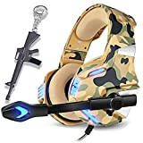 Camo Gaming Headset for PS4, PC, Laptop Cellphone -Stereo Surround Gaming Headphones with Microphone, Noise Cancelling, LED Lights for Tablet-Camouflage