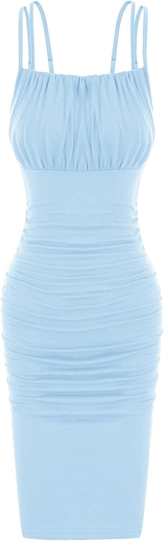 Women's Sexy Bodycon Double Spaghetti Strap Ruched Midi Club Dresses