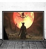 N/S Póster Bloodborne Hunter Game Art Posters E Impresiones Lienzo Pintura Cuadros De Pared para Sala De Estar Decoración Decorativa para El Hogar 50 × 70Cm Sin Marco