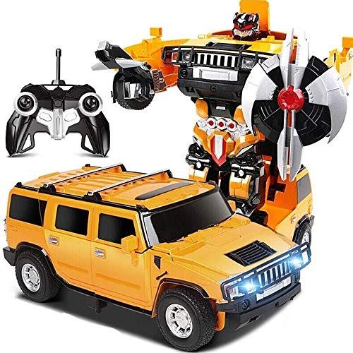 KRCT Amarillo Grande de Camiones de Control Remoto con Faros LED 2.4G Profesional RC Un Clic Deformación Autobots Modelo eléctrico Recargable RC Coche de RC Robot for niños de Edad 8+