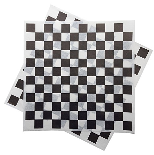 Deli Squares - Wax Paper Sheets (12 x 12) (Pack of 100) (Checkered Black)