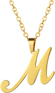 Initial Letter Necklace, A to Z Trendy Alphabet Name Necklaces, Stainless Steel, Black/18K Gold Plated, Womens Mens Personalized Jewelry Gift