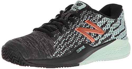 New Balance Women's 996 V3 Clay Tennis Shoe, Black/Mint, 6.5 W US