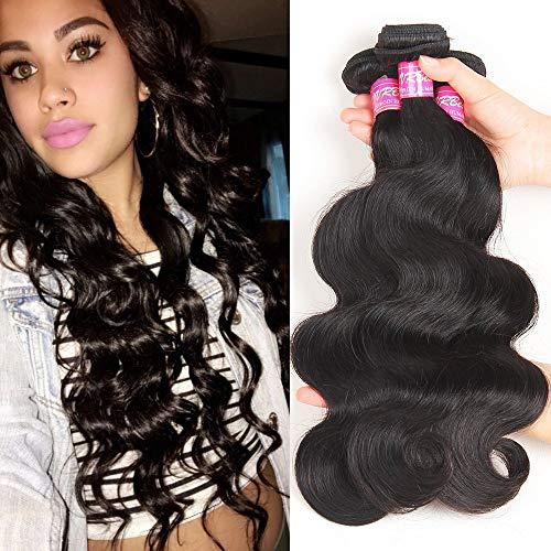 VRBest Hair 10A Unprocessed Brazilian Virgin Hair Body Wave 3 Bundles Virgin Human Hair Extensions Natural Color Remy Hair For African Americans Women(12 14 16)