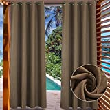 LIFONDER Blackout Outdoor Curtain Drapes - Grommet Indoor/Outdoor Patio Blinds Waterproof Solid Cabana/Canvas Window Curtain Panels, Coffee, 52' Width by 84' Length, 1 Piece