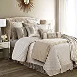 HiEnd Accents - FB3900-SK-SN Fairfield 4-PC Quilted Linen & Velvet Coverlet Set, Super King, Cream & Taupe