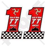 ISLE von MAN TT Rennen MANX Moto GP Rennen 75mm Auto & Motorrad Aufkleber, x2 Vinyl Bike-Helm Aufkleber, Abziehbild