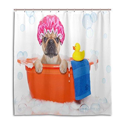Duschvorhänge Schimmelresistent Wasserdicht Form Mops Hund Baden zu bedruckt waschbar Polyester Bad Vorhang mit stabiler Haken für Badezimmer Home Dekoration Zubehör 167,6x 182,9cm