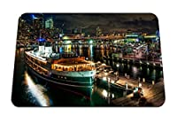 22cmx18cm マウスパッド (シドニーオーストラリア船ボート桟橋ワーフ街の明かり橋建物) パターンカスタムの マウスパッド
