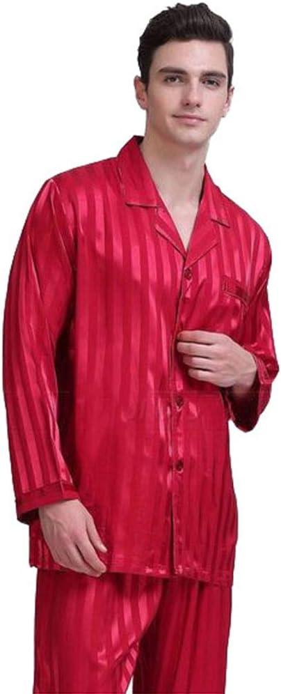 NA Men's Pajama Set Long Sleeve Sleepwear Lightweight Button Down Tops and Pants/Bottoms Classic Loungewear Set,Red,XL