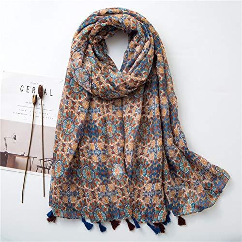 MYTJG Lady sjaal vrouwen herfst en winter bloem kwasten viscose sjaal sjaal sjaal dames warme sjaal