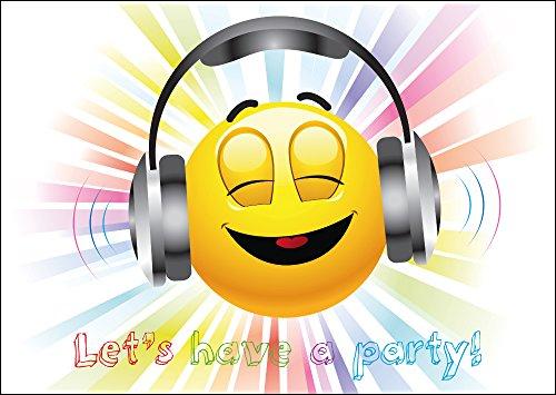8-er-Set lustige Smiley-/Emoji-Einladungskarten