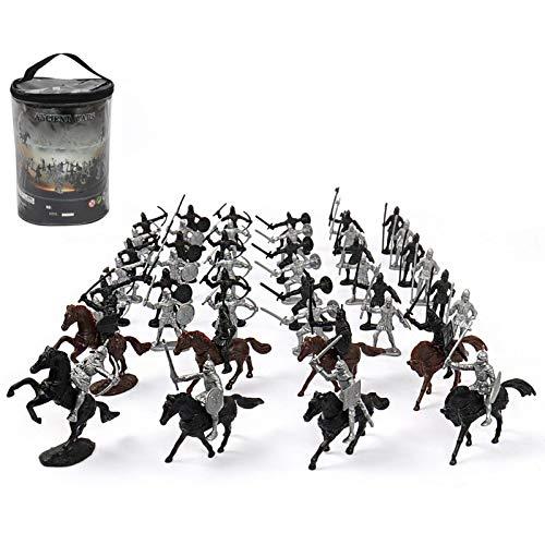 GeKLok Juego del ejército, Juguetes medievales de plástico del castillo de los juguetes del soldado Modelo caballo dibujado carro juego, caballeros educativos juego castillo decoración del hog
