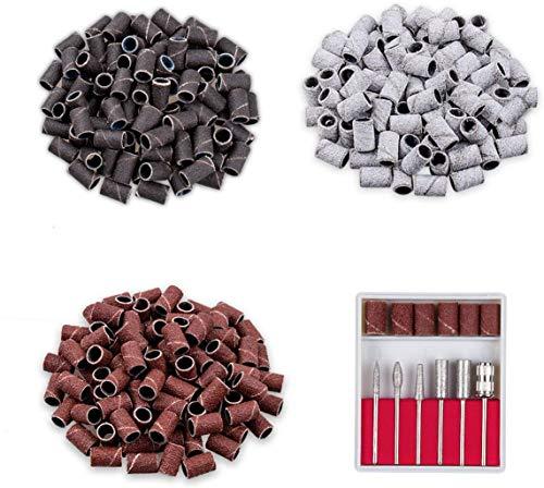 6pcs 3/32 inch Acrylic Nail Art Drill Bits for Acrylic, Poly, Nail Polish Gel Nails, 300pcs Sanding Bands #80#120#180 for Electric Nail Efile Dril, Manicure Pedicure