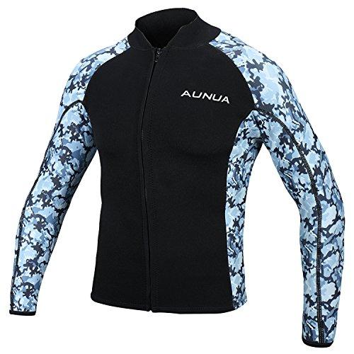 Aunua Mens 2mm Neoprene Wetsuit Camouflage Jacket Long Sleeve Surfing Tops(8021 OceanCamouflage XL)