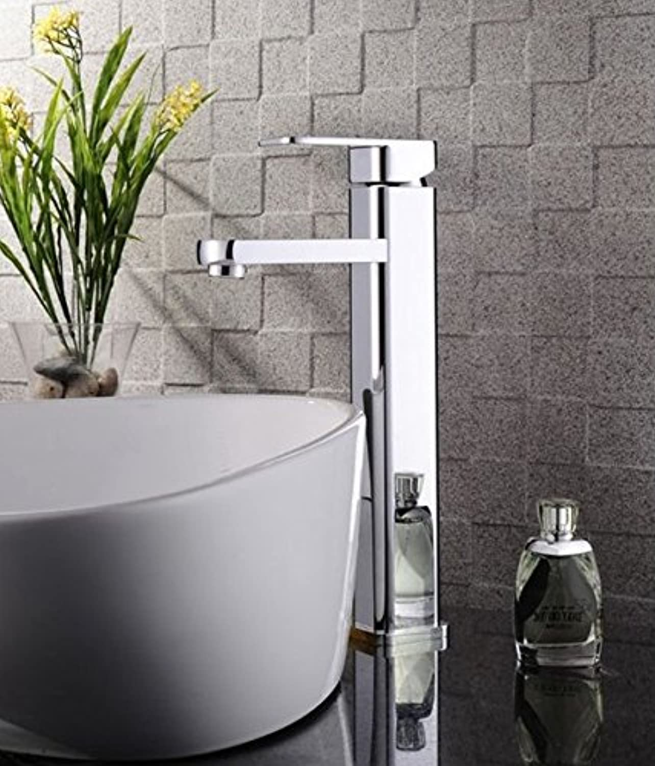 SADASD Contemporary Bathroom Full Copper Basin Faucet Pull Plus High-Basin Sink Mixer Tap Ceramic Valve Single Hole Single Handle Cold Water With G1 2 Hose