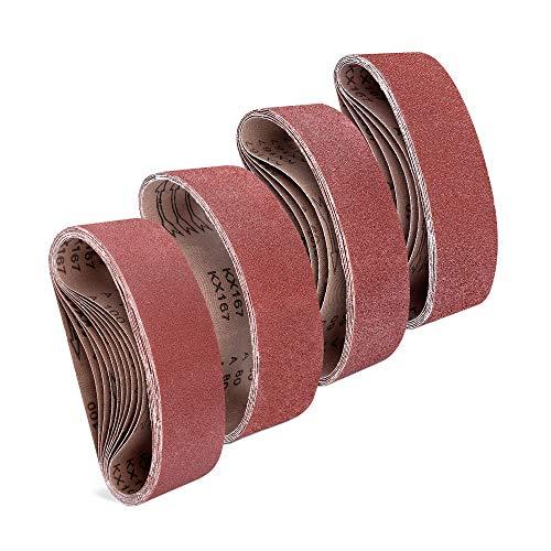 Navaris 25x Schleifband für Bandschleifer - 40-100 Körnung - 75 x 457mm - Schleifbänder Schleifpapier für Bandschleifmaschine - Bandschleifpapier