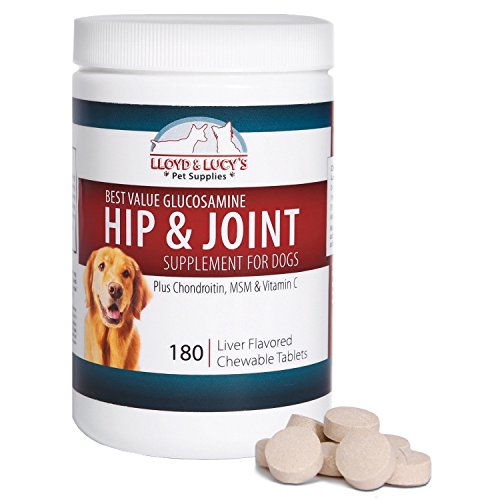 Lloyd & Lucy s Hip and Joint Supplement for Dogs - Chewable Multivitamin with Glucosamine  Chondroitin  MSM and Vitamin C - Healthy Liver Flavored Treat Pets Will Love - 180 Ct Tablets