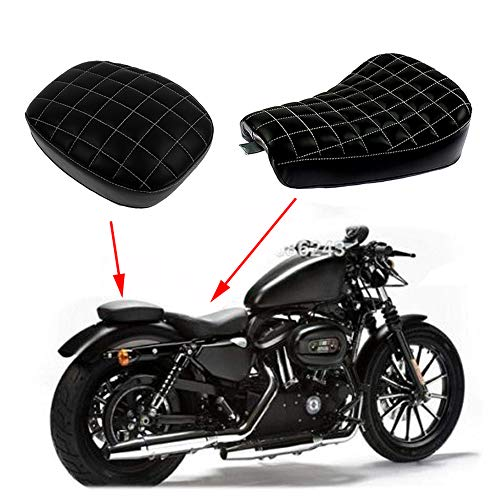YHMTIVTU Motorcycle Diamond Front Rider Solo Seat Rear Passenger Cushion Fit for Harley Sportster XL 48 72 1200X 1200V