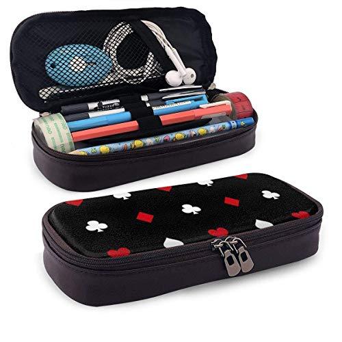 AOOEDM Solitaire Pflaume Red Heart Square PU Leder Bleistift Pen Case Beuteltasche mit Reißverschluss Schulmaterial für Student Coin Purse Cosmetic Makeup Bag
