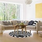 Wishstar 3D Illusion Teppich, Optischer Täuschungsteppich Teppich, Runder Mandala-Teppich Für Wohnzimmer Schlafzimmer Flur Läufer Esszimmer Teppich Fußmatte Anti-schlittern Non Shedding - 4