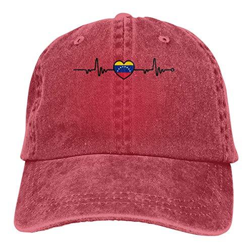 N/A Sombrero De Sol,Dad Hat,Sombrero De Deporte,Sombreros Sombrilla Al,Ocio Sombrero,Venezuela Flag Heartbeat Line Heart Denim Jeanet Gorra De Béisbol Ajustable Dad Hat