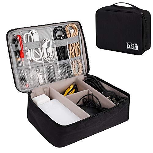 QIMEI-SHOP Sac Organisateur pour Câbles Grand Electroniques Portable Pochette Rangement Imperméable pour Clé USB Disque Dûr Cartes...