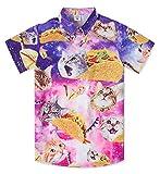 Big Boy Teens Summer Aloha Button Down Shirt 3D Printing Taco Pizza Cat Hawaiian Themed T Shirts Purple Space Santa Custom Birthday Party Short Sleeve Dress for 13-14 Years Old