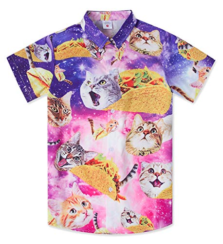 Pizza Taco Cat Dress Shirt for Teens Boy 3D Floral Printed Button Up Blouse Juniors Vintage Blue Galaxy Hawaii Shirts Kids Quick Dry Short Beach Luau Party Clothing in School Casual Sports, Size 11-12