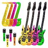KP Set Fiesta con Hinchables - Guitarras, Saxos y Micrófonos - Colores vistosos 12 Unidades para Photocall, Fiestas, cumpleaños, Celebraciones