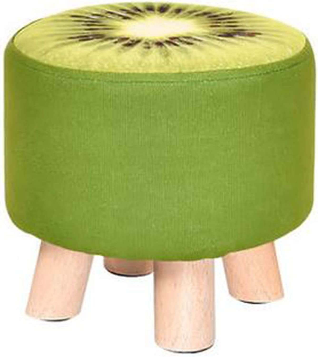 Creative Round Wooden Footstool Fabric Foot Rest Stool Adult Kids Applicable, Green, Kiwi