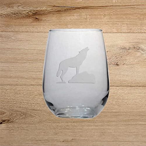 Copa de vino con grabado Wolf para whisky, cristal sin tallo, decoración de fiesta, perfecto para padre, mamá, niño o amiga