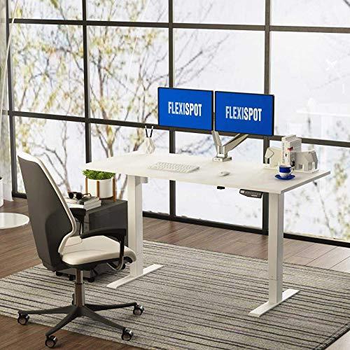 FLEXISPOT EN1 Bureau Électrique Réglable en Hauteur à 2 Étages avec Plateau 120 * 60cm, Cadre avec Télécommande Smart pour Mémoire, Travail à Domicile (Cadre Blanc+Plateau Blanc)