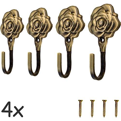 FUXXER - 4 ganchos antiguos para guardarropa o toallas, ganchos de hierro de latón y bronce, diseño vintage, rústico, retro, 92 mm, rosa, juego de 4 unidades.