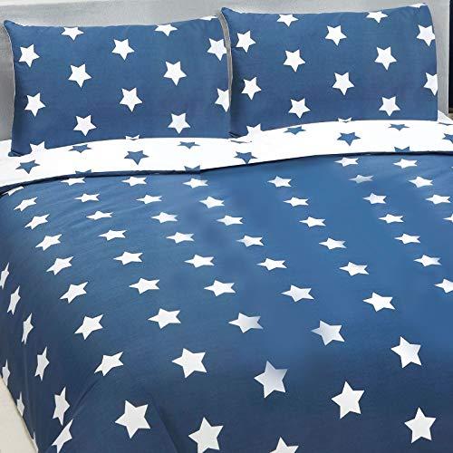 Price Right Home Bleu Marine et Blanc étoiles Double Housse de Couette et taie d'oreiller Ensemble