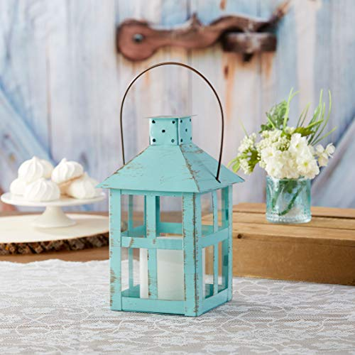 Kate Aspen 14137BL Vintage Distressed Decorative Lantern, Blue, Extra Large (Pack of 1)