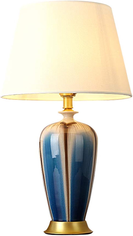 Tischlampe Schlafzimmer Nachttischlampe Wohnzimmer Kreative Europäische Kupfer Hause Studie Retro Keramik Tischlampe B07GR5G9F9     | Rabatt