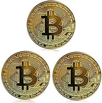 BTC Coin 3 Pack Gold Bitcoin Coin Gold Plated Commemorative Souvenir Gift