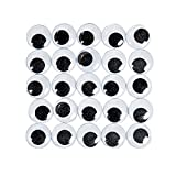 Fun Express 100 Super Huge Black Wiggle Googly Eyes - Arts and Craft Supplies Wiggly Eyes, black, white, 25mm