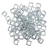 VILLCASE 100Pcs Hebillas de Fleje Hebillas de Metal Prácticas Hebillas de Embalaje de Alambre de Acero Hebilla de Metal Autoblocante para Embalaje Industrial (Plateado)